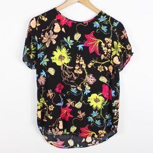 H&M Shirt Size 8 Black Floral Print Short Sleeve